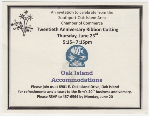 Oak island accommodations 20th anniversary invitation oak island nc oak island accommodations 20th anniversary invitation stopboris Images